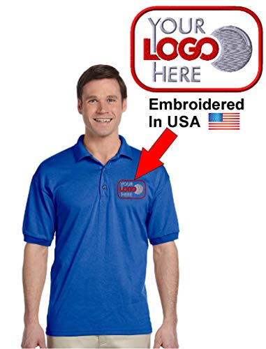 (Custom Logo Embroidered Jersey Polo, Dry Blend Polo Shirt, Your Company Logo (2XL, Royal Blue))