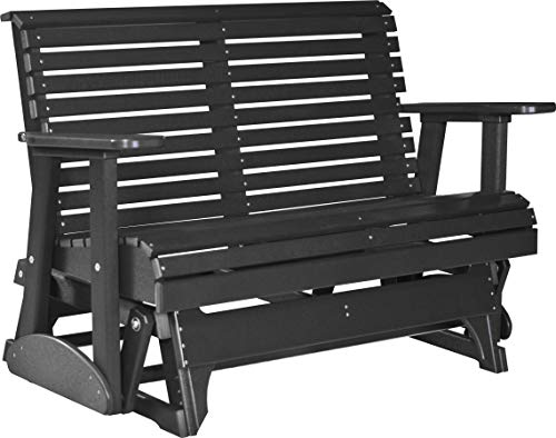 Furniture Barn USA Outdoor 4' Rollback Glider - Black Poly Lumber - Recycled Plastic