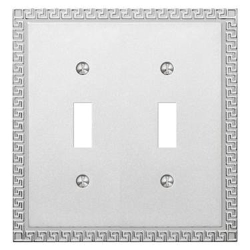 Amerelle Decor Collection Double Toggle Cast Metal Wallplate in Frosted Polished Chrome