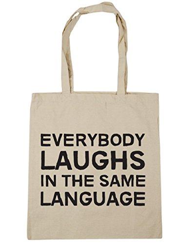 HippoWarehouse todo el mundo ríe en el mismo idioma Tote Compras Bolsa de playa 42cm x38cm, 10litros Natural