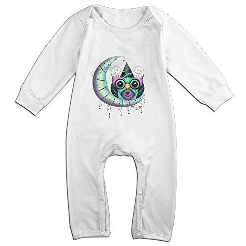 Raymond Party Cross Bones Hooty Owl Long Sleeve Baby Climbing Clothes White 18 Months