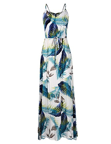 Leadingstar Women's Strap Elegant Boho Floral Beach Maxi Dress (Green Leaf, S)