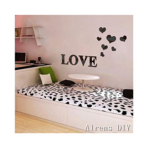Alrens_DIY(TM) 11pcs Love Letter Hearts DIY Patterns TV Background Decor Mirror Surface Crystal Wall Stickers Acrylic 3D Home Decal Living Room Murals Wall Paper adesivo de parede (Black)