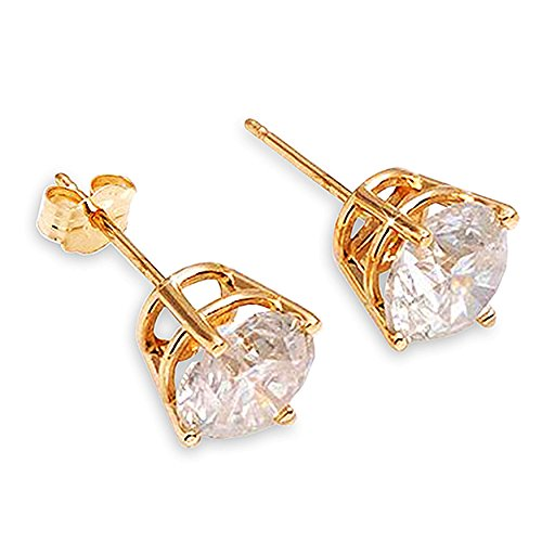 Stunning 1 Carat (CTW) Natural Round Brilliant Diamond 14K Solid Yellow Gold Stud Earrings H-I Color, SI1-SI2 Clarity