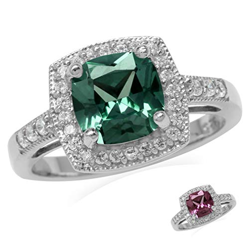 (8MM Cushion Shape Simulated Color Change Alexandrite 925 Sterling Silver Halo Engagement Ring Size)