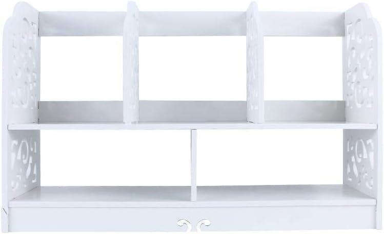 2 Ebenen durchbrochene freistehende Schreibtisch Dekor Veranstalter Halter Regal wei/ß DIY Holzregal CD-Buch station/äre Make-up Aufbewahrungsbox Einheit Desktop-B/ücherregal