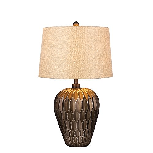 Martin Richard W-6217BRN Fangio Lighting's #6217BRN 29.5 inch Brown Resin Table Lamp with Paper Lantern Fold Effect - Fangio Lighting Resin