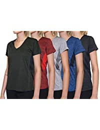 Real Essentials 5-Pack Women's Short Sleeve V-Neck Activewear T-Shirt Dry-Fit Moisture Wicking Perfomance Yoga Top
