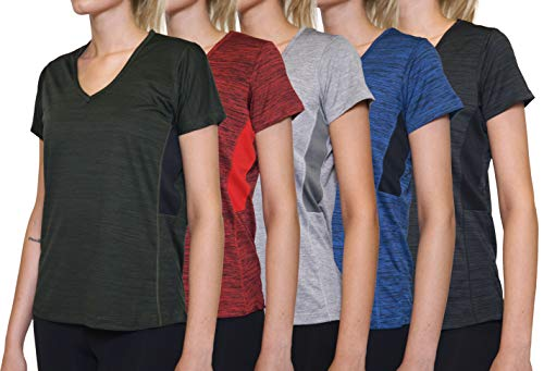 - 5 Pack: Womens V Neck T-Shirt Ladies Yoga Top Athletic Active Wear Gym Workout Zumba Exercise Running Quick Dry Fit Dri Fit Clothes - Set 3,XL
