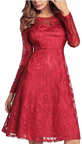Jaycargogo Pleine Dentelle Vintage Féminin Contraste À Manches Longues Col Rond Élégant Rouge Robe Sexy