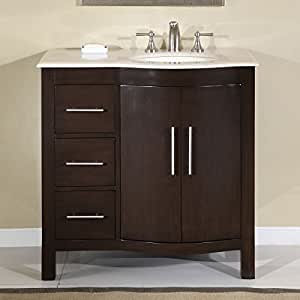 off center sink bathroom vanity silkroad exclusive marble top center 23873