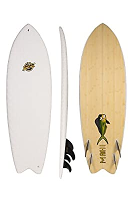 5'8 Hybrid Fish Soft-Top Surfboard - The Mahi - High Performance Hybrid Foam Surfboard - Classic Fish Shape Soft-Top Surfboard with FCSII Fin Boxes + Custom Fingerprint Texture - No Wax Needed