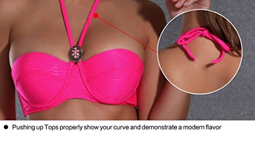 Traje de baño de las señoras Traje de baño de moda bikini de alta cintura de dos piezas traje Bikini Pink