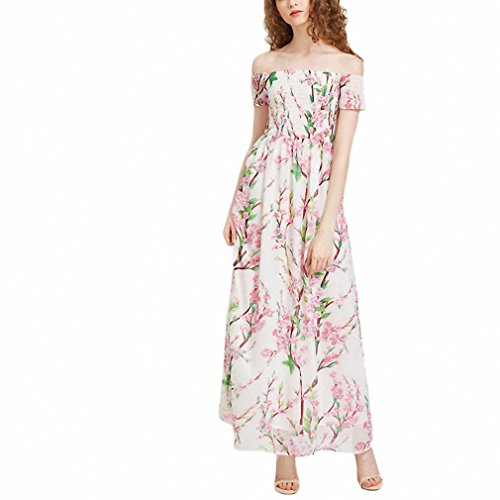 Summer Maxi Dresses Long Off The Shoulder Dress White Blossom Print Short Sleeve Smocked A Line Chiffon Dress Smocked A-line