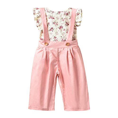 Unistylo 2PCS Girl Toddler Clothes Floral Suspenders Pant Set,Baby Girls Clothes Long Sleeve Shirt+Sleeve Overalls (2-3Years, Sleeveless)