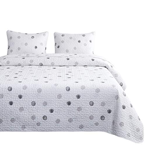 Wake In Cloud - Dotted White Quilt Set, Gray Grey Watercolor Dots Simple Modern Printed, 100% Cotton Fabric with Soft Microfiber Inner Fill Bedspread Coverlet Bedding (3pcs, Queen Size)