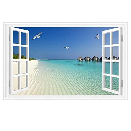 3D Blue Ocean Beach Seagull Wall Stickers Home Nautical Decor Wall Art Bedroom Living Room (Seascape Seagull 23.6x35.4 inch)