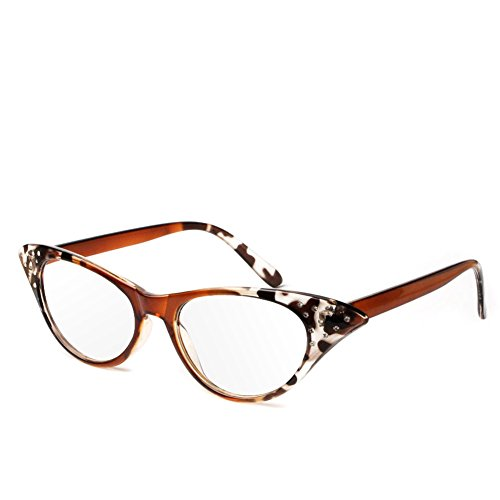 Wivily Women Rhinestone Cat Eye Sexy Vintage Style Clear Lens Reading Glasses - Leopard - Simple Eye Cat