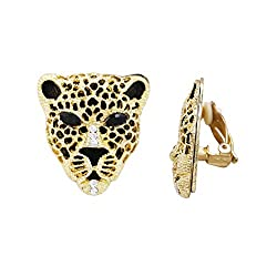 Rosemarie Collections Women S Crystal Accented Black Panther Clip On Earrings Gold