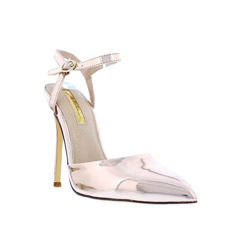 Liliana Women Pointed Toe D'orsay Ankle Strap Stiletto Pump Gisele82(Rose Gold 7) (Gold Braid Heels Shoes)