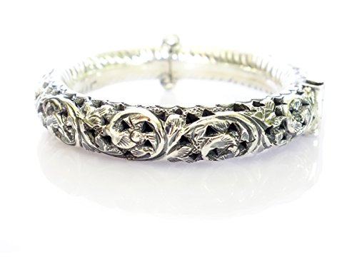 FINE HANDMADE 925 STERLING SILVER GYPSY BANGLE BRACELET FOR WOMEN VINTAGE TRIBAL BRACELET BY TIBETAN SILVER by Tibetan Silver