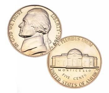 5 Cent Nickel - 1969 S Us Mint Jefferson Proof 5 Cent Nickel Coin