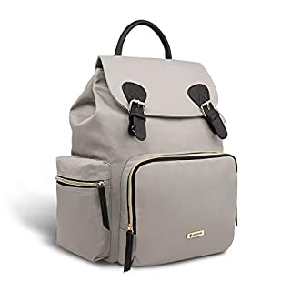 Vogshow Waterproof Diaper Bag, Multifunction Stylish Travel Backpack Maternity Nappy Bag for Baby Care, Large Capacity and Durable (Gray)