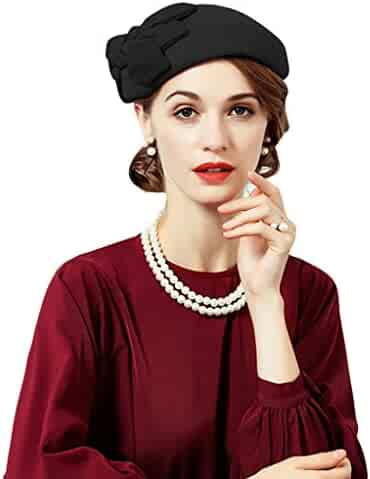 1383eb4dee650 Fascinator for Women Elegant Red Wedding Wool Pillbox Hat with Bow Felt  Fedoras