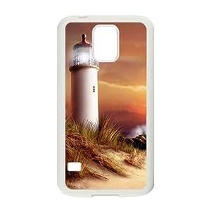 Diy Beach Lighthouse Phone Case for samsung galaxy s5 White Shell Phone JFLIFE(TM) [Pattern-2]