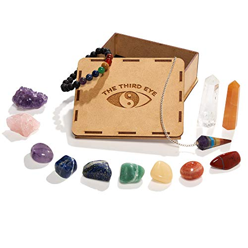 13 piece Chakra Healing Crystal Kit/Set, includes 7 Tumbled Chakra Stones, 7 Chakra Lava Rock Bracelet, Amethyst Cluster, Rose Quartz, 2 Obelisks, Chakra Pendulum + 32 pg. Ebook ~ Meditation, Reiki ()