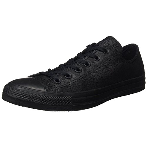 CONVERSE Unisex Chuck Taylor All Star Ox Fashion Sneaker Leather Shoe - Black Mono - Mens - - Leather Sneakers Canvas