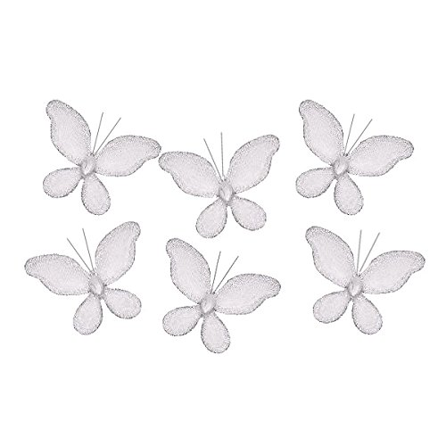 The Butterfly Grove Caitlyn Butterfly Decoration 3D Hanging Mesh Nylon Decor, Plumeria White, Mini, 2