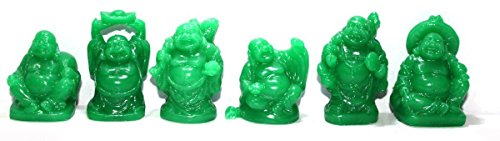 Used, Set of 6 Jade Color Feng Shui Laughing Buddha Statue for sale  Delivered anywhere in Canada