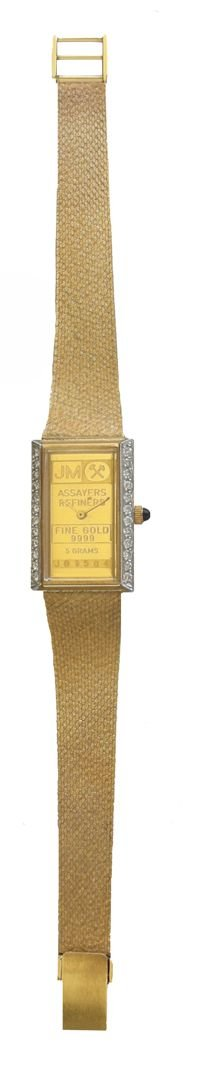 Johnson Matthey ''One of a Kind'' 14K Gold 5 Gram Ingot Ladies Watch With .50 ct Diamonds by RICH (Image #5)