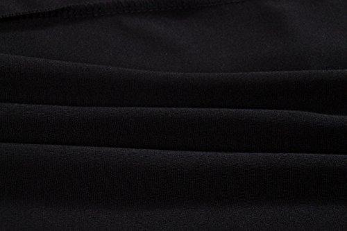 Beauty7 Vestido Retro Chic de Mujer Colorblock Con Cuello Manga Larga Carrera de Solapa Bodycon Houndstooth Tabajo Negocios Workwear Business Rojo Gris Negro Dress Gris+Negro