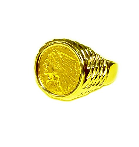 TEX Genuine Indian Head 2 1/2 Dollar Gold Coin - 14K Solid Yellow Gold Mens Coin ()