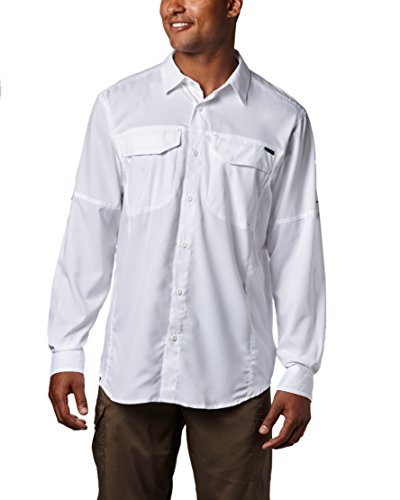 Columbia Men's Silver Ridge Lite Long Sleeve Shirt, UV Sun Protection, Moisture Wicking Fabric, White, Large