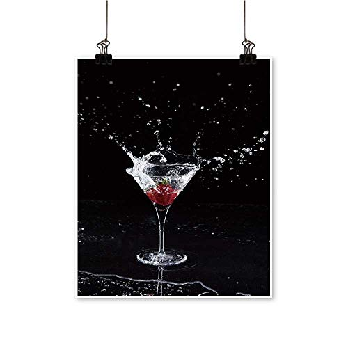 Modern Painting Strawberry splaash into Martini Glass Bedroom Office Wall Art Home,24