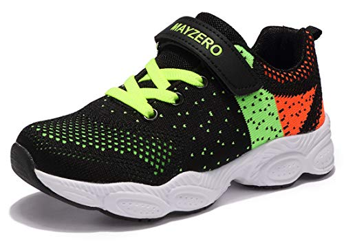 (Vivay Kids Sneakers Mesh Breathable Boys Tennis Shoes Lightweight Athletic Sports Running Shoes (1# Black Green,Size 12 Little Kid))