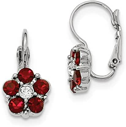 Silver-tone Red & Clear Crystal Flower Shaped Leverback Earrings
