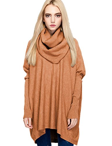 Cowl Turtleneck Sweater - Meow Meow Lace MML Womens Turtleneck Long Sleeve Loose Knit Top Cable Pullover Sweaters (One Size, Caramel)