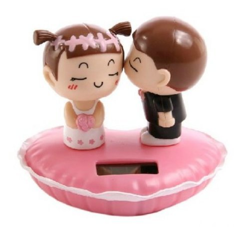 Solar Bobblehead Dolls-Lovers Kiss Dashboard Dancing Toy-Creative Car Decoration Accessories-For Home Windows,Office Desk,Auto,Lovers Present ()