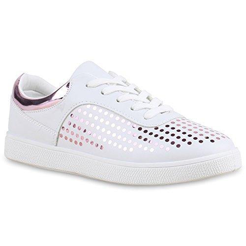 Stiefelparadies Modische Damen Kroko Sneakers Low Glitzer Schuhe Schnürer Flandell Weiss Rosa Gepunktet