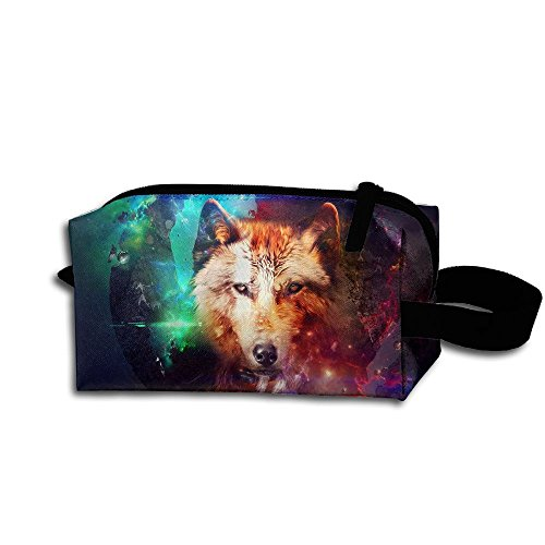 Makeup Cosmetic Bag Colorful Wolf In Space Zip Travel Portable Storage Pouch For Mens Womens