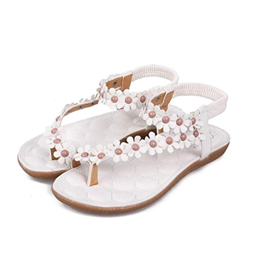 Fheaven Womens Summer Bohemia Sweet Beaded Flower Sandals Clip Toe Sandals Beach Flip Flop Flats Sandals White oLmlps