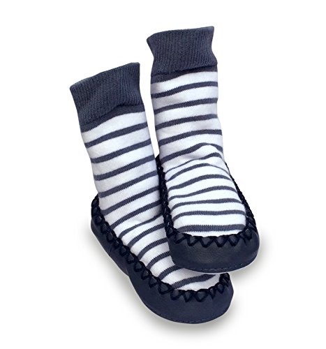 Mocc Ons Cute Moccasin Style Slipper Socks - Nautical Stripe, 18-24 Months - Image 2