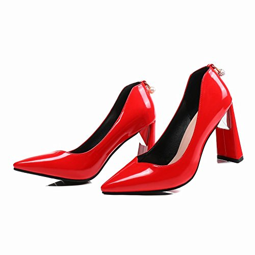 MissSaSa Damen High Heel Pointed Toe Lack-Pumps Rot