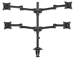 AVF MRC1404-A  Quad Monitor Desk Mount, Multi Position for 13-inch to 27-inch Screens, Black