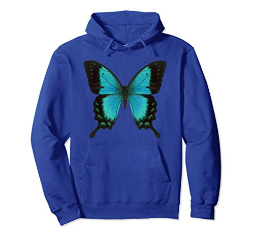 Unisex Swallowtail Butterfly Hoodie XL: Royal Blue
