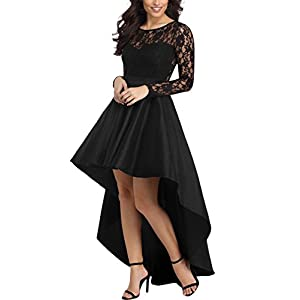 AlvaQ Women's Elegant Lace Short Sleeve A-line High Low Skater Dress Cocktail
